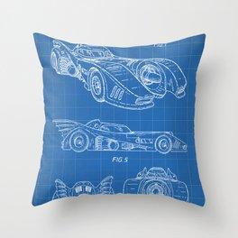 Batmobile Patent - Bat Mobile Art - Blueprint Throw Pillow