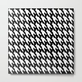 Black And White Dogtooth Design Metal Print