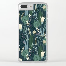 Wonderful Mid-Century Style Evening Lily And Wildflower Pattern Clear iPhone Case