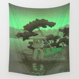 Kawase Hasui Vintage Japanese Woodblock Print Glowing Green Neon Sky Over A Zen Garden Shrine Wall Tapestry