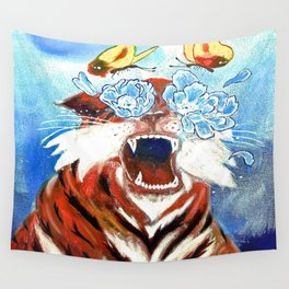 Original Tiger Painting on Canvas Wall Tapestry