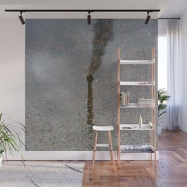 Factory Chimney  Reflection in Water Wall Mural