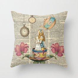 It's Always Tea Time - Alice In Wonderland Throw Pillow