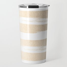 White Gold Sands Painted Thick Stripes Travel Mug