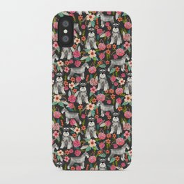 Schnauzer floral must have dog breed gifts for schnauzers owners florals iPhone Case