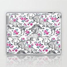 Dinosaurs and Roses - white Laptop & iPad Skin