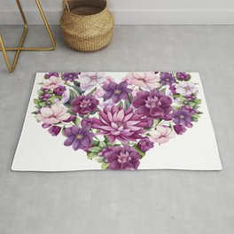 Floral Heart of Watercolor Pink and Maroon Flowers, Berries and Leave Rug