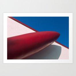 Red Rocket Ship Art Print