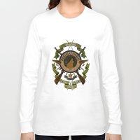 bucky Long Sleeve T-shirts featuring Sgt Bucky Barnes (green) by emptystarships