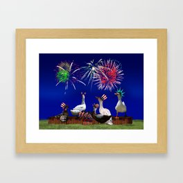 Ducky Celebration for the 4th of July Framed Art Print