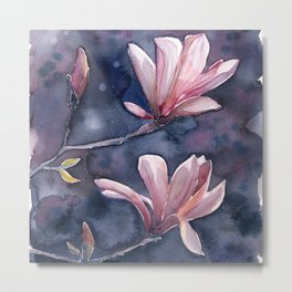 Winter Magnolia, watercolor artwork Metal Print
