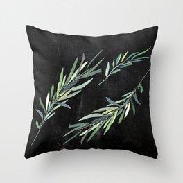 Eucalyptus leaves on chalkboard Throw Pillow
