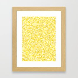 Tiny Spots - White and Gold Yellow Framed Art Print