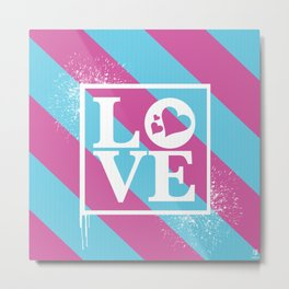 Love Hearts. White ink stamp over a blue and pink background. Metal Print