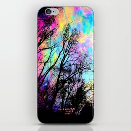 Black Trees Colorful space. iPhone Skin