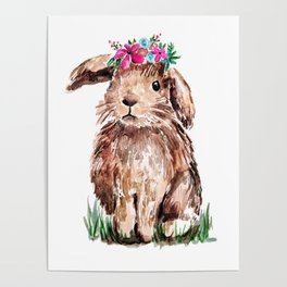 Bunny with Flower Crown Poster