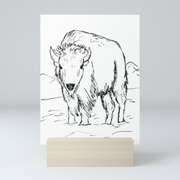 Bison in Black and White / Ink Drawing of a Buffalo / Western Art Mini Art Print