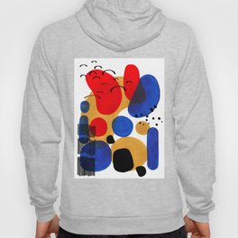 Modern Mid Century Fun Colorful Abstract Minimalist Painting Shapes & Patterns Primary Colors Hoody