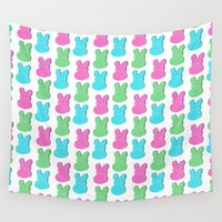 bunnies Wall Tapestries featuring Yummy Bunnies! by Claudia Ramos Designs