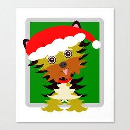 Christmas Yorkshire Terrier Cartoon Canvas Print