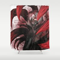 tokyo ghoul Shower Curtains featuring tokyo ghoul by keiden