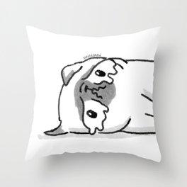 Sad Mochi the pug Throw Pillow
