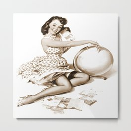 Out of This World by Gil Elvgren Pin Up Girl Metal Print