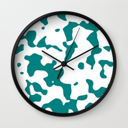 Large Spots - White and Dark Cyan Wall Clock