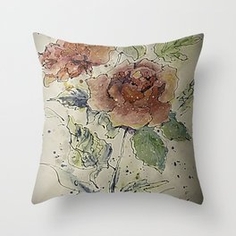 watercolor Rose #6 Original Painting by OLena Art Throw Pillow