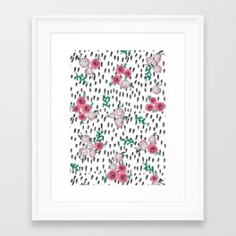 Rose. Illustration, pattern, print, floral design, art, painting, flowers, flower, Framed Art Print