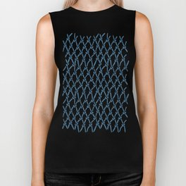 Fishing Net Blue Biker Tank