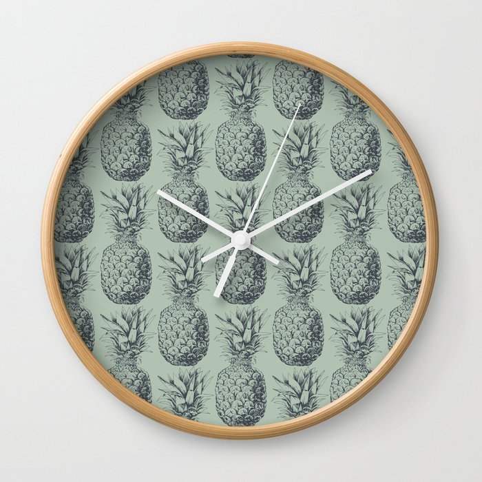 Pineapple, tropical fruit pattern design Wall Clock