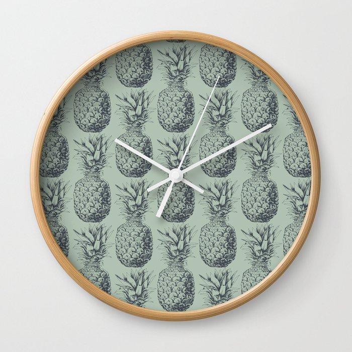 Pineapple, tropical fruit pattern design Wall Clock
