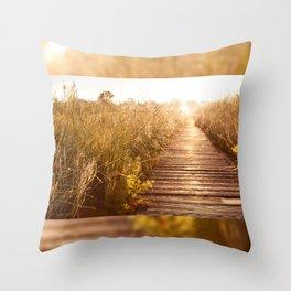 boardwalk and morass grass Throw Pillow