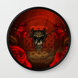 Creepy skull with roses, Wall Clock
