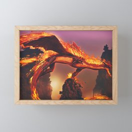 Spectacular Fearsome Scary Red Hot Burning Monster Reptile UHD Framed Mini Art Print