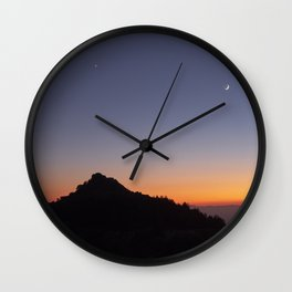 Venus and the Moon. Sierra Nevada at sunset Wall Clock