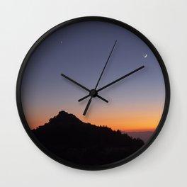 Venus and the Moon. Sierra Nevada at sunset Wall Clock