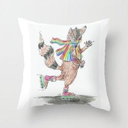 Roll on, Rainbow Raccoon! Throw Pillow