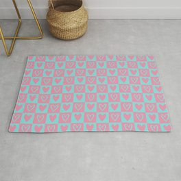 Light Blue and Light Pink Checkered Squares with Hearts Rug