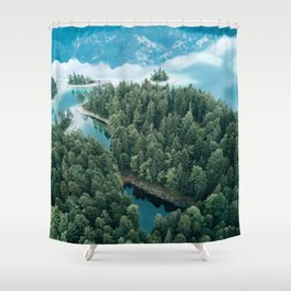 Mountain in a Lake - Landscape Photography Shower Curtain