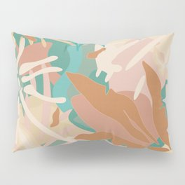 Abstract Tropical Plants / Turquoise and Pastels Pillow Sham
