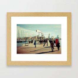 Barcelona: Port Vell, going to Maremagnum Framed Art Print