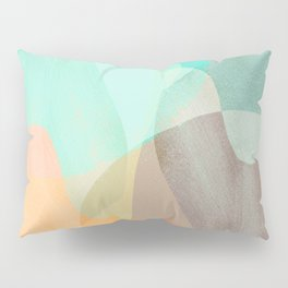 Shapes and Layers no.29 - Blue, Orange, Gray, abstract painting Pillow Sham