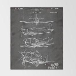 Wedberg Airplane Patent - Us Air Force Art - Black Chalkboard Throw Blanket