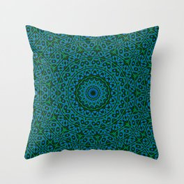 Blue Green Kaleidoscope Mandala Throw Pillow