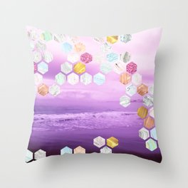 Gorgeous Purple Beachscape with marble, glitterl, gold and rose gold geometric tiles Throw Pillow