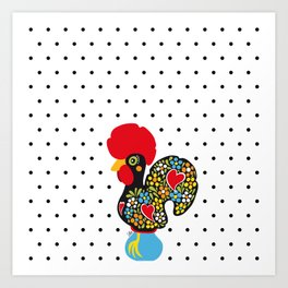 Famous Rooster of Barcelos 01 | Lucky Charm & Polka Dots Art Print