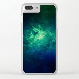 Green Nebula Space Clear iPhone Case