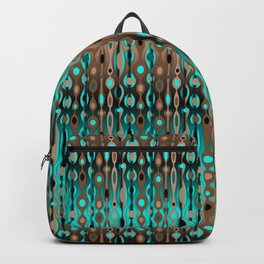 Retro Bohemian Gypsy Beaded Dangles // Horizontal Gradient Chocolate Brown, Turquoise, Teal Backpack